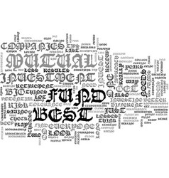 Best mutual fund companies text word cloud concept vector