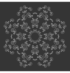 Black and white ornate flower pattern vector