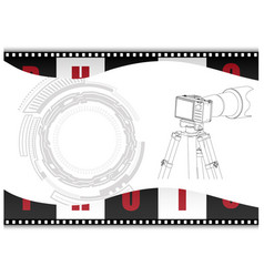 Black camera with tripod and film on a white vector