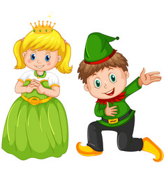 Boy and girl wearing costume vector