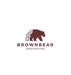 brown bear construction logo icon vector image