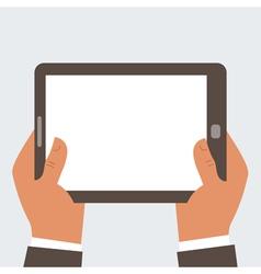 Businessman holding tablet computer vector image