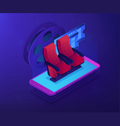 buying tickets online isometric 3d concept vector image