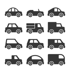 Car icons set on white background vector