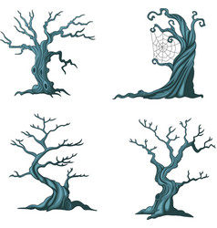 cartoon halloween trees collection set vector image