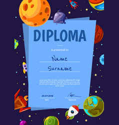 Certificate template with with cartoon vector