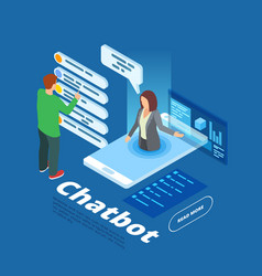 chatbot isometric online vector image