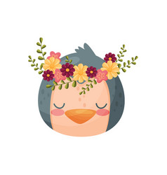 Chicken head with flower wreath flora and fauna vector