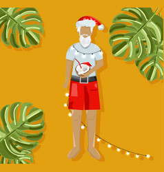 christmas santa drinking coconut cocktail on warm vector image