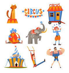 Collection circus characters juggling clown vector