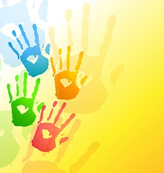 Colorful hands background vector