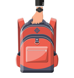 colorful school backpack in hand vector image