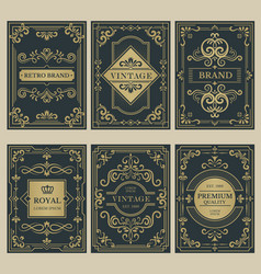 Crown vintage cards royal victorian style posters vector