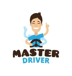 Cute cartoon style mascot driver school vector