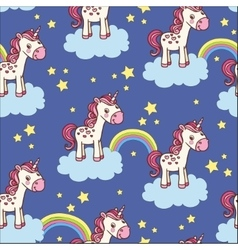 cute seamless pattern with unicorn vector image