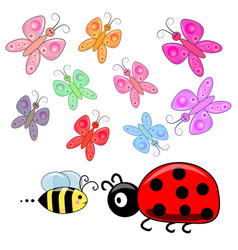 Cute small insects elements set collection vector