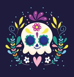 Day dead skull flowers floral heart vector