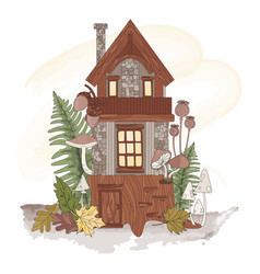 dwarf house autumn forest nature vector image