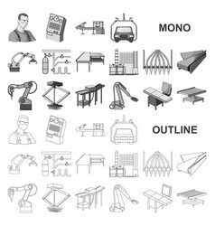 Equipment and machine monochrom icons in set vector