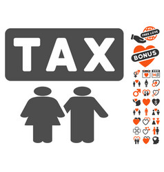 family tax pressure icon with valentine bonus vector image
