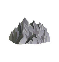 flat icon of gray rocky mountain with vector image