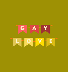 Flat icon on stylish background gay love garland vector