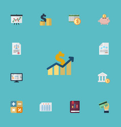 Flat icons coins pile tactics paper and other vector