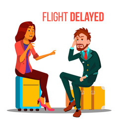 flight delayed cancelled cartoon poster vector image