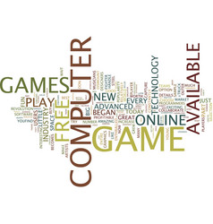 free computer games text background word cloud vector image
