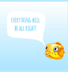Funny poster with marine yellow boxfish or vector