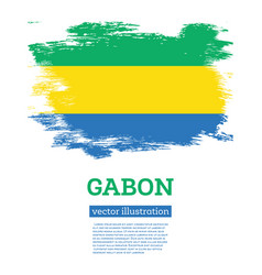 Gabon flag with brush strokes independence day vector