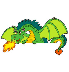 Giant green lurking dragon vector