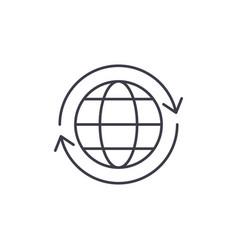 global logistics line icon concept global vector image