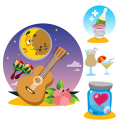 Guitar and maracas champagne cocktails heart set vector