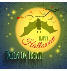 Halloween card with bat vector