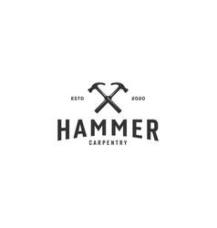 hammer logo emblem vintage design vector image