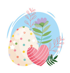Happy easter beauty egg with dots and striped vector