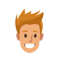 Happy male face smile character funny vector