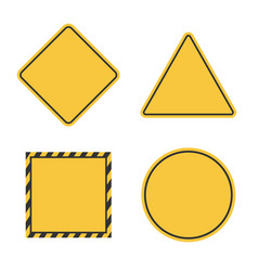 Hazard blank sign set empty yellow caution symbol vector