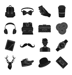 Hipster style set icons in black style Big vector