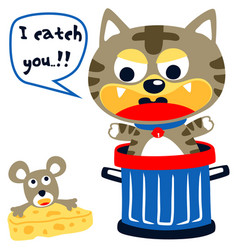 Humor cartoon little cat try to catch a mouse vector