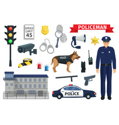 icons of policeman occupation and police vector image
