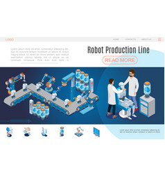 isometric artificial intelligence website template vector image