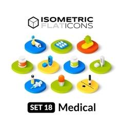 Isometric flat icons set 18 vector