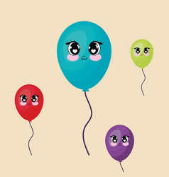 kawaii balloons design vector image
