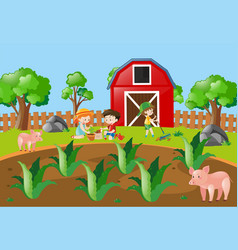 Kids planting tree in the farmyard vector