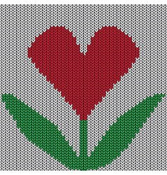 Knitted heart flower vector