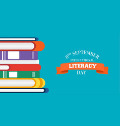 Literacy day design of education books for kids vector