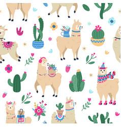 llama and cactus pattern cute seamless hand drawn vector image