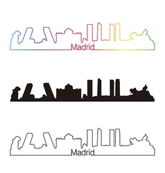 Madrid skyline linear style with rainbow vector